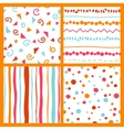 hand seamless patterns bright collection vector image vector image