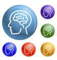 human think brain icons set vector image