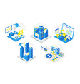 icon set for software development programming vector image