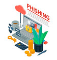 internet phishing concept background isometric vector image vector image