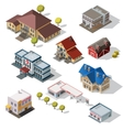 Isometric High Quality City Street Urban Buildings vector image vector image
