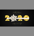 merry christmas card 3d gift bow ribbon gold vector image