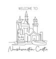 one single line drawing neuschwanstein castle vector image vector image