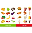 Organic food and Fast food icons vector image vector image