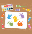 paint tubes palette canvas with colorful vector image vector image