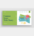 people and money website landing page tiny woman vector image vector image