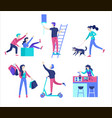 people enjoying their hobbies character vector image