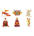 people in medieval clothes coat arms scroll vector image