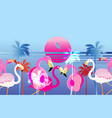 pink flamingos on a tropical island vector image vector image
