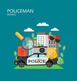 policeman service flat style design vector image