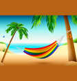 rainbow striped hammock on beach between palm vector image vector image