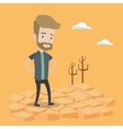 Sad man in the desert vector image vector image