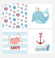 set cute cards or posters for nursery kids vector image