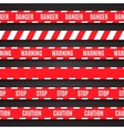 Set of red warning tapes on dark background vector image vector image