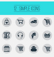 set of simple purchase icons elements grocery shop vector image vector image