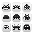 Space invaders 8bit aliens buttons set vector image vector image