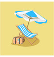 summer blue beach umbrella chair yellow background vector image vector image