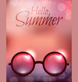 summer poster with sunglasses and calligraphy vector image