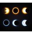 Sun And Moon Eclipse Icons Set vector image vector image