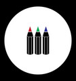 three crayons various color simple black icon vector image vector image