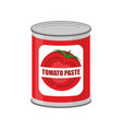 tomato paste tin can canned food with tomatoes vector image vector image