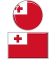Tonga round and square icon flag vector image vector image