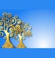 tree life gold trees on blue sky background vector image vector image