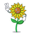 two finger sunflower character cartoon style vector image