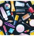 Watercolor cosmetics pattern vector image