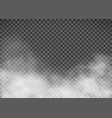 white smoke on a transparent background template vector image