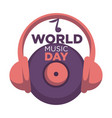 world music day isolated icon vinyl disc and vector image