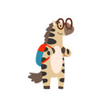 zebra in glasses standing with backpack cute vector image vector image