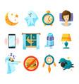 symbols of night sleeping icon set insomnia vector image