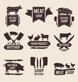 design of monochrome labels set for butcher shop vector image