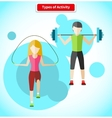 Types of Activity People Icon Flat Design vector image