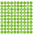 100 rain icons hexagon green vector image vector image