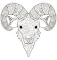adult antistress coloring head of a ram pattern vector image vector image