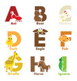 alphabet animals vector image vector image