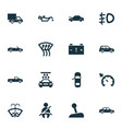 automobile icons set with caution oil pressure