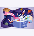 back to school sale background paper cut cartoon vector image