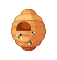Beehive With Bees Flying Around Cartoon vector image vector image