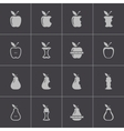 black apple and pear icons set vector image vector image