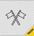 Black line crossed medieval flag icon isolated on