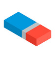 blue red eraser icon isometric style vector image vector image