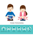 boy and girl stomachache because food poisoning vector image vector image