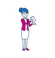 business woman employee holding document office vector image
