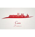 Caen skyline in red vector image vector image