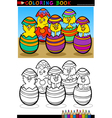 Cartoon chicks in easter eggs coloring page vector image