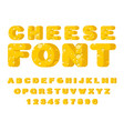 cheese font cheesy abc food alphabet yellow vector image vector image