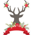 Christmas Deer Antlers with FlowersBanner set vector image vector image